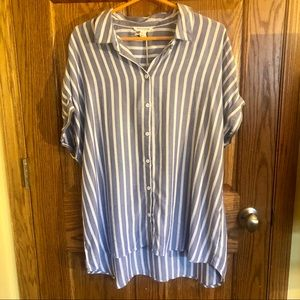 Blue White Stripe Short Sleeve Button Up